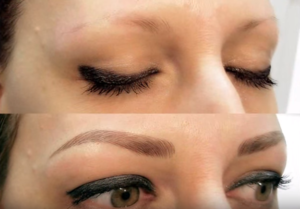 Microblading eyebrows for semi-permanent make-up